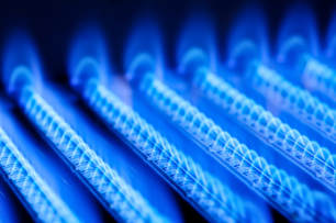 Image of blue flames in gas boiler.